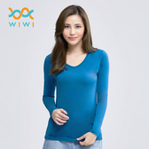 【WIWI】MIT溫灸刷毛V領發熱衣(翡翠藍 女S-2XL)