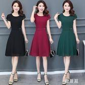 雪紡洋裝新款30-40-50歲中年婦女裙時尚修身中長款短袖連身裙zzy2279【雅居屋】