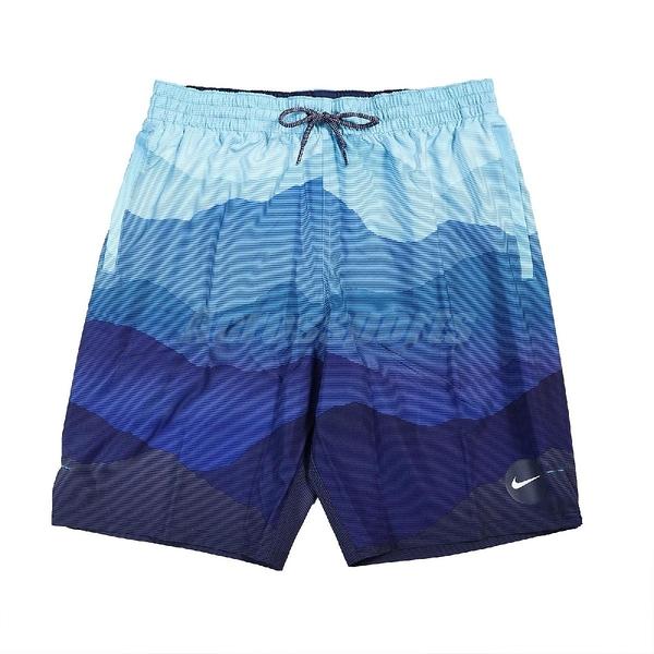Nike 短褲 Essential Lap 藍 深藍 男款 膝上 帶襯海灘褲 運動休閒 【ACS】 NESSB528-494