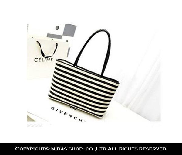 質感純棉 黑白條紋橫式包 帆布袋 帆布包 手提袋 購物袋 側背包 肩背包/單肩/拉鍊口+拉鍊內袋
