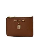 美國正品 MICHAEL KORS 鎖頭裝飾荔枝紋拉鍊證件鑰匙零錢包-焦糖色 【現貨】