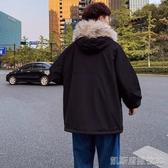冬季加絨加厚毛領棉衣男士韓版寬鬆棉服潮流棉襖學生連帽外套凱斯盾