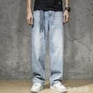 夏季休閒牛仔褲男士水洗寬鬆老爹垂感闊腿褲薄款淺色牛仔直筒長褲「時尚彩紅屋」