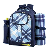 野餐包 含2人餐具組-藍色調附地墊爬山外出輕便多功雙肩後背包68ag13【時尚巴黎】