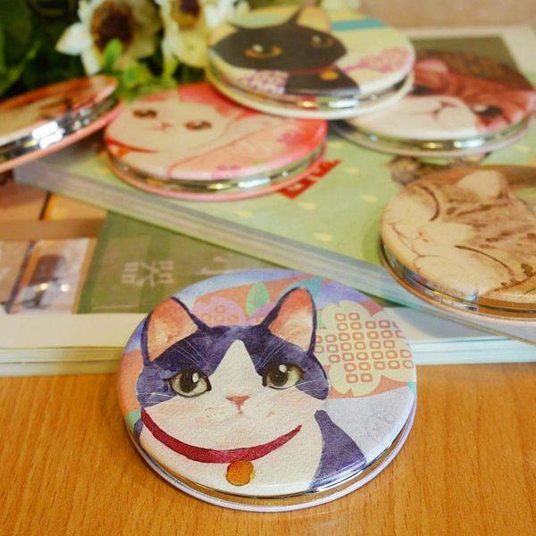 【貓粉選物】貓咪隨身鏡-賓士貓 和風水彩系列 雙面鏡 化妝鏡 補妝鏡 小圓鏡
