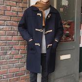 男士大衣 2018冬季新款韓版呢子外套潮流學生牛角扣中長款風衣