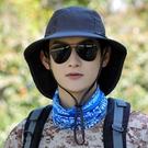 帽子男士夏季遮陽帽透氣防曬帽戶外防紫外線釣魚帽太陽登山漁夫帽 快速出貨