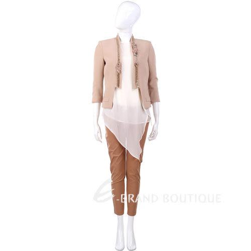 ELISABETTA FRANCHI 膚色花朵造型飾邊 短版西裝外套 1320541-32