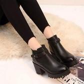 韓版粗跟防水臺圓頭英倫風短靴女秋冬馬丁靴短筒復古高跟單靴女鞋