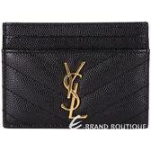 YSL Saint Laurent MONOGRAM 絎縫荔紋牛皮萬用卡片夾(黑色) 1820237-01