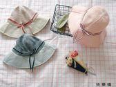 戶外遮陽蝴蝶結盆帽出游百搭防曬可折疊太陽帽