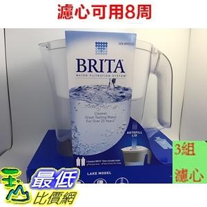 [現貨] Brita Lake (最高容量4L) 2.4L 新型藍色 10杯 濾水壺 (含3支8周圓形濾心) 可過濾151公升