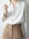 熱賣垂感襯衫 白襯衫女復古港味設計感小眾春秋季垂感百搭外穿長袖簡約氣質上衣 coco
