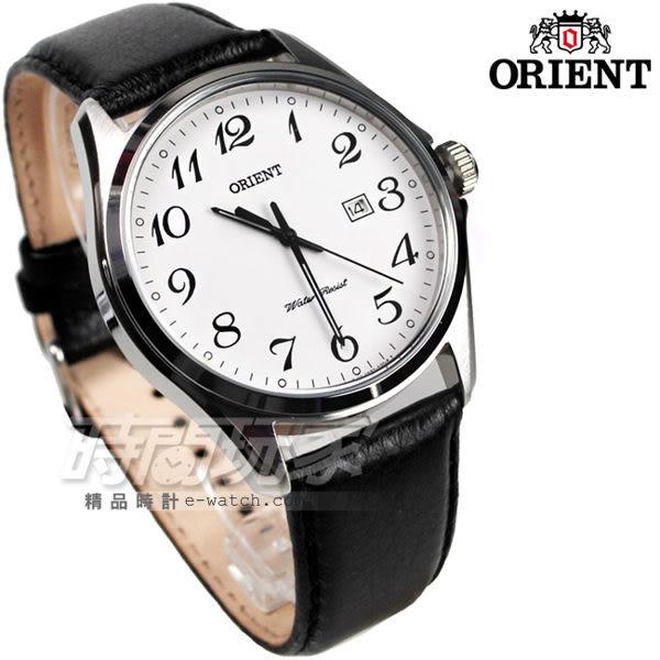 ORIENT東方錶 簡約數字 黑色皮帶 男錶 FUNF2008W