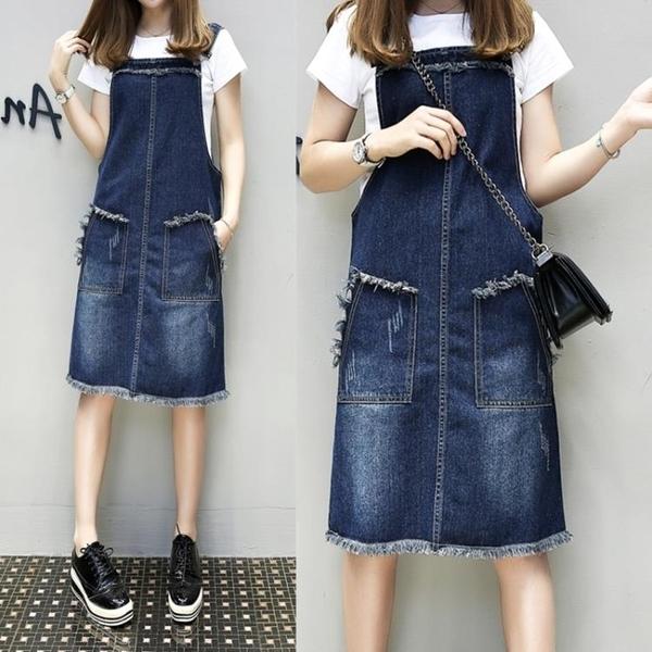 加肥加大碼女裝春夏款胖mm顯瘦牛仔背帶裙200斤修身連身裙 korea嚴選