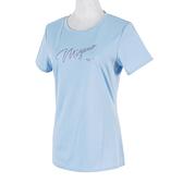Mizuno [32TA170121] 女 短袖t恤 運動 休閒 吸濕 排汗 抗UV 咖啡紗 美津濃 粉藍