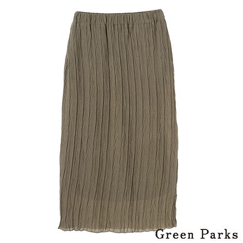 「Hot item」素面微透皺褶長裙 - Green Parks