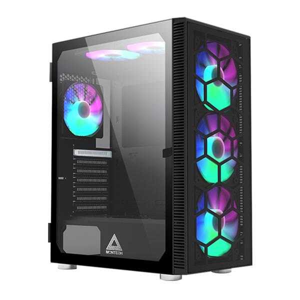 Montech 君主 X3 GLASS ATX 內含6顆RGB機殼風扇 玻璃透側 黑色 機殼