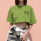 短板上衣 ins街拍款寬鬆短款綠色短袖T恤百搭學生露臍上衣