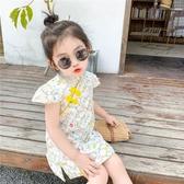 韓國女童夏季短袖旗袍夏裝2020中國風漢服盤扣兒童碎花裙小女孩公主裙【居享優品】