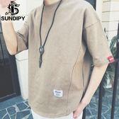 夏季T恤男裝寬鬆短袖歐美時尚百搭休閒潮純色上衣體恤衫 【快速出貨八折免運】