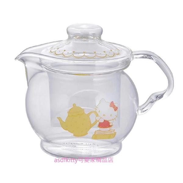 asdfkitty*KITTY玻璃泡茶壺/花茶壺/咖啡壺-附濾網-460ML-日本正版商品