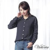 Victoria 條紋落肩寬鬆長袖襯衫-丈青-V1505358