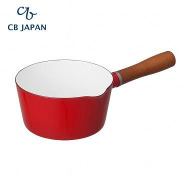 CB Japan 北歐系列琺瑯原木單柄牛奶鍋-熱情紅