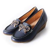 DeSire 蝴蝶結飾釦楔型鞋   -籃