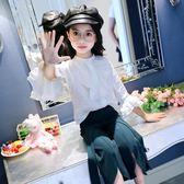 每週新品2019春秋3新款5女童7襯衫9韓版11兒童喇叭袖洋氣襯衣12歲長袖上衣