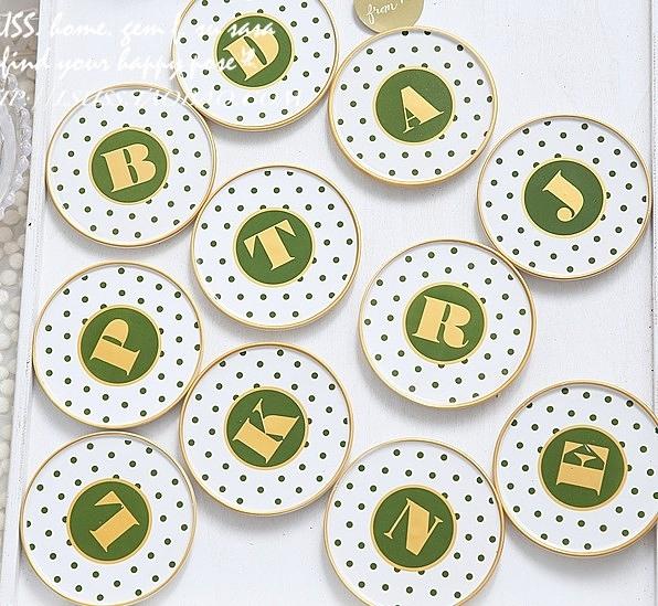 【協貿國際】復古描金邊圓點波點花紋墊-綠(2入不挑款)
