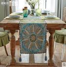 桌旗歐式蓋布美式亞麻提花茶几布藝中式現代圓形餐桌布