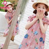 女童夏裝連身裙童裝韓版純棉兒童夏季沙灘裙公主洋氣裙子 深藏blue