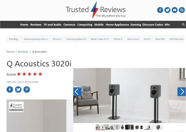 『盛昱音響』英國 Q Acoustics 3020i 喇叭+丹麥 Tangent E8超低音+Denon AVR-S540BT 環繞擴大機