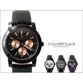 范倫鐵諾Valentino 全黑真三眼設計皮革手錶 藍寶石水晶 原廠公司貨 柒彩年代【NE846】單支