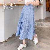 Queen Shop【03030233】拼接條紋設計長裙 S/M*現+預*