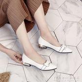 夏季新款漆皮小皮鞋百搭女鞋尖頭平底單鞋女淺口低跟粗跟套腳 概念3C旗艦店