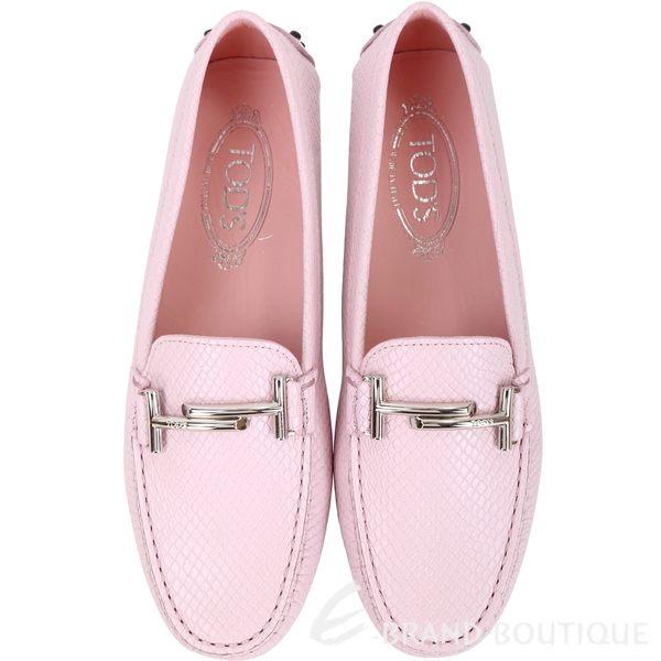 TOD'S Double T 金屬設計壓紋休閒豆豆鞋(粉色) 1830011-47