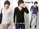 ∥柒零年代∥Out-Imagine【N7123J】日韓強力推薦百搭單品小V領三扣棉料長袖上衣(JJ1361)