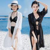 沙灘游泳衣女新品外套罩衫開衫中長款七分袖海邊度假溫泉雪紡外搭 卡布其诺