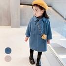 素色雙排扣翻領毛尼長袖外套 大衣 女童 厚外套 橘魔法 現貨 女童 兒童 中童 童裝