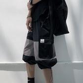 日系復古國潮褲子男夏季多口袋工裝短褲潮牌潮流拼接寬鬆七分褲男