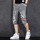 短褲/五分褲 2021新款夏季休閒薄款男七分牛仔短褲潮牌新款印花大碼寬鬆中長褲