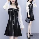 L-5XL胖妹妹洋裝~8112大碼女裝蕾絲拼接小香風鏤空性感顯瘦連身裙套頭NC21莎菲娜