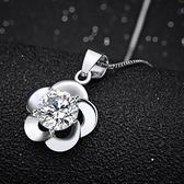 925純銀項鍊  鑲鑽墜飾-精緻梅花生日情人節禮物女配件73am148【巴黎精品】