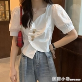 夏季新款韓版不規則V領白襯衫女設計感小眾短款上衣洋氣襯衣 聖誕節全館免運