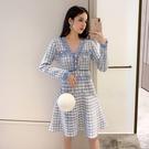 VK精品服飾 韓國小香風氣質千鳥格收腰顯瘦針織長袖洋裝