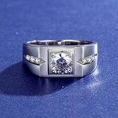 莫桑石戒指-1克拉商務時尚寬面925純銀男飾品2色73yk94{附GRA證書}【時尚巴黎】