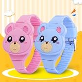 兒童手錶女孩小胖熊學生led電子表可愛動物玩具手錶卡通萌男生☌zakka