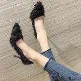 高跟鞋/春季新款女百搭韓版淺口尖頭小清新少女細跟黑色單鞋「歐洲站」